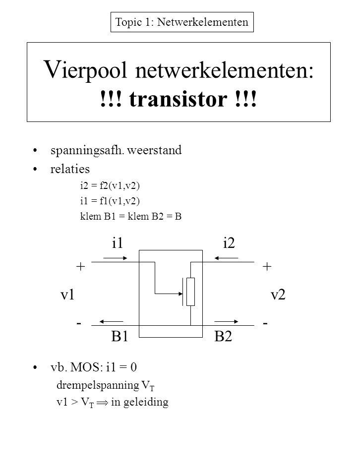 Topic 1: Netwerkelementen V ierpool netwerkelementen: !!! transistor !!! spanningsafh. weerstand relaties i2 = f2(v1,v2) i1 = f1(v1,v2) klem B1 = klem