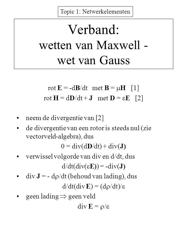 Topic 1: Netwerkelementen Verband: wetten van Maxwell - wet van Gauss rot E = -dB/dt met B =  H [1] rot H = dD/dt + J met D =  E [2] neem de diverge