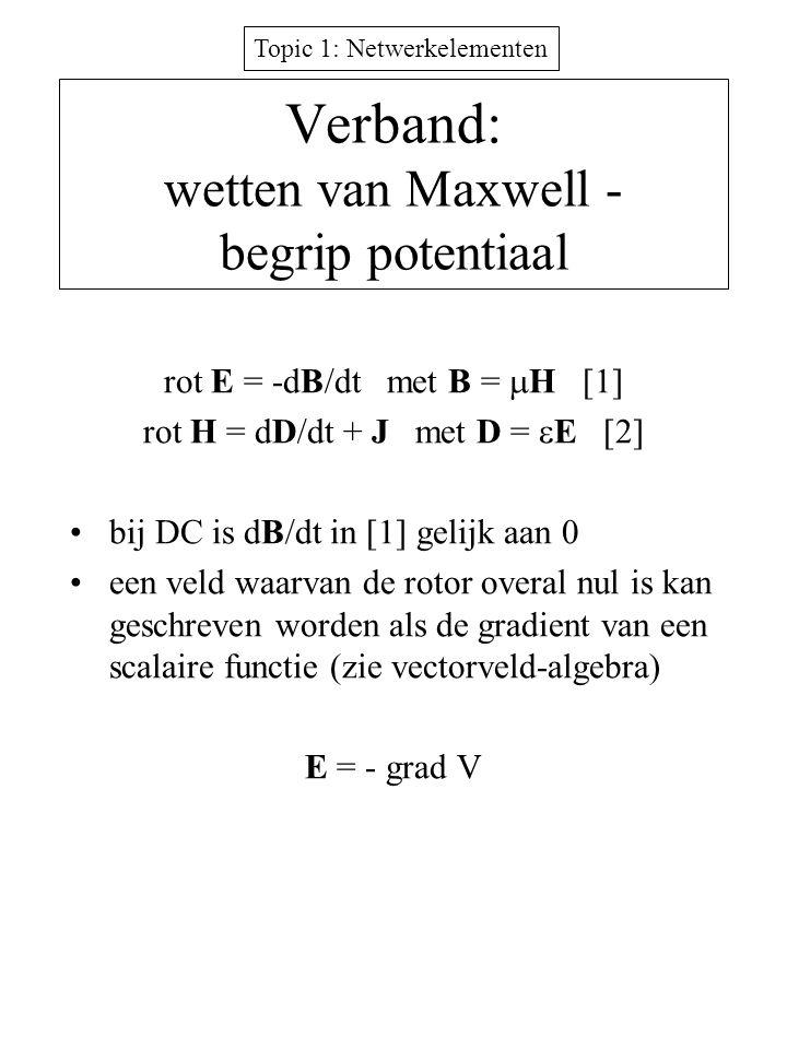 Topic 1: Netwerkelementen Verband: wetten van Maxwell - begrip potentiaal rot E = -dB/dt met B =  H [1] rot H = dD/dt + J met D =  E [2] bij DC is d