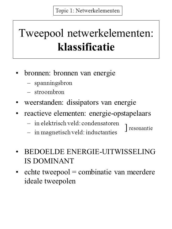 Topic 1: Netwerkelementen Tweepool netwerkelementen: klassificatie bronnen: bronnen van energie –spanningsbron –stroombron weerstanden: dissipators va