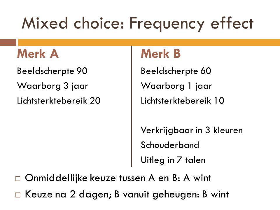 Mixed choice: Frequency effect Merk A Beeldscherpte 90 Waarborg 3 jaar Lichtsterktebereik 20 Merk B Beeldscherpte 60 Waarborg 1 jaar Lichtsterkteberei
