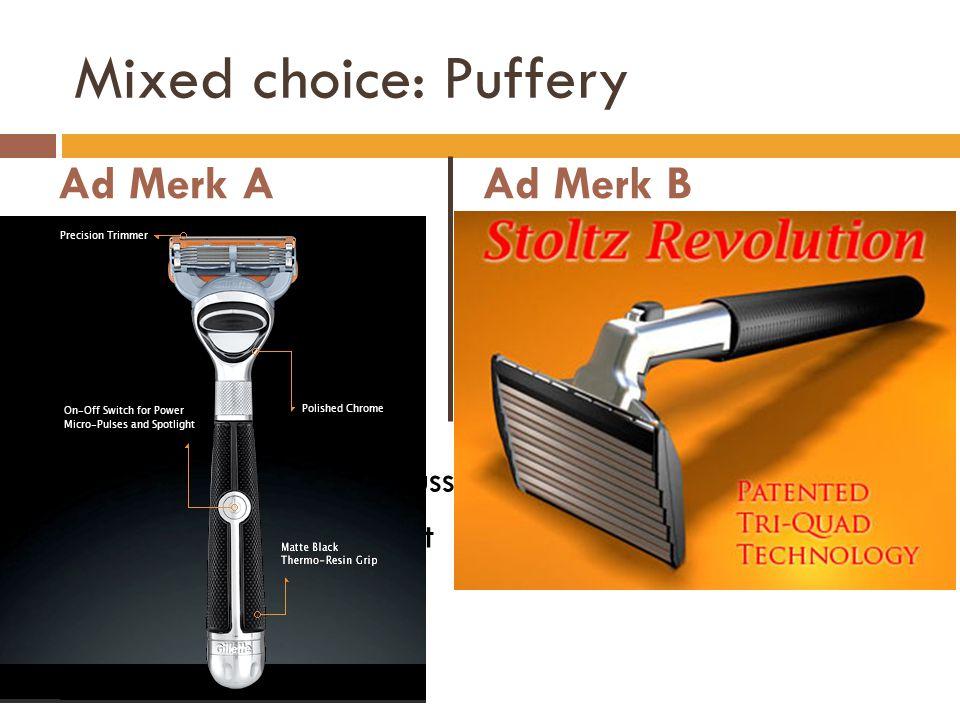 Mixed choice: Puffery Ad Merk A Technische details Duidelijk zeer goed Ad Merk B Puffery; gebruikt door experten, makkelijk te gebruiken, … Enkele tec