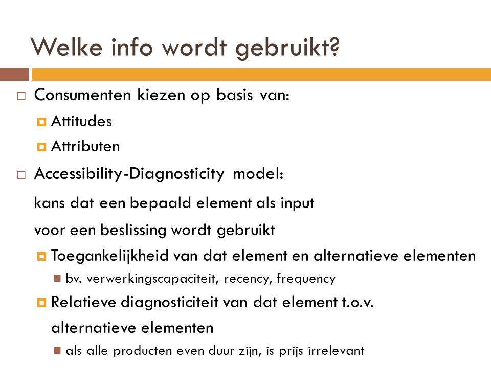 Welke info wordt gebruikt?  Consumenten kiezen op basis van:  Attitudes  Attributen  Accessibility-Diagnosticity model: kans dat een bepaald eleme