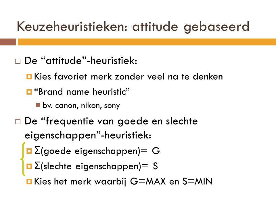 """Keuzeheuristieken: attitude gebaseerd  De """"attitude""""-heuristiek:  Kies favoriet merk zonder veel na te denken  """"Brand name heuristic"""" bv. canon, ni"""