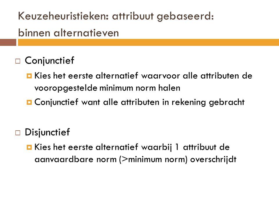 Keuzeheuristieken : attribuut gebaseerd: binnen alternatieven  Conjunctief  Kies het eerste alternatief waarvoor alle attributen de vooropgestelde m