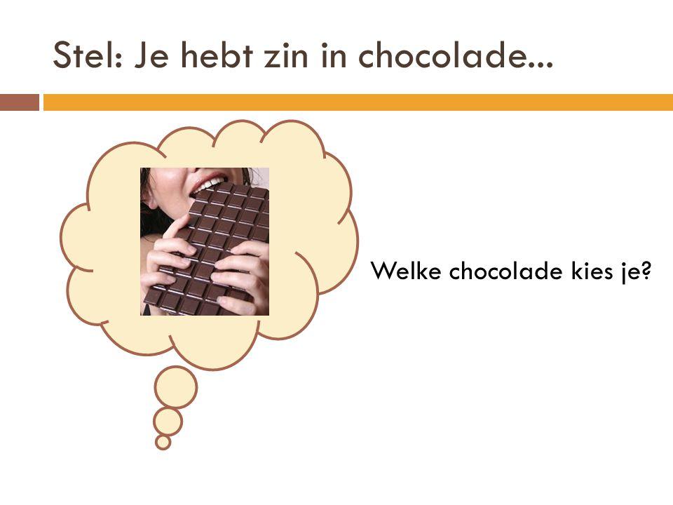 Stel: Je hebt zin in chocolade... Welke chocolade kies je?