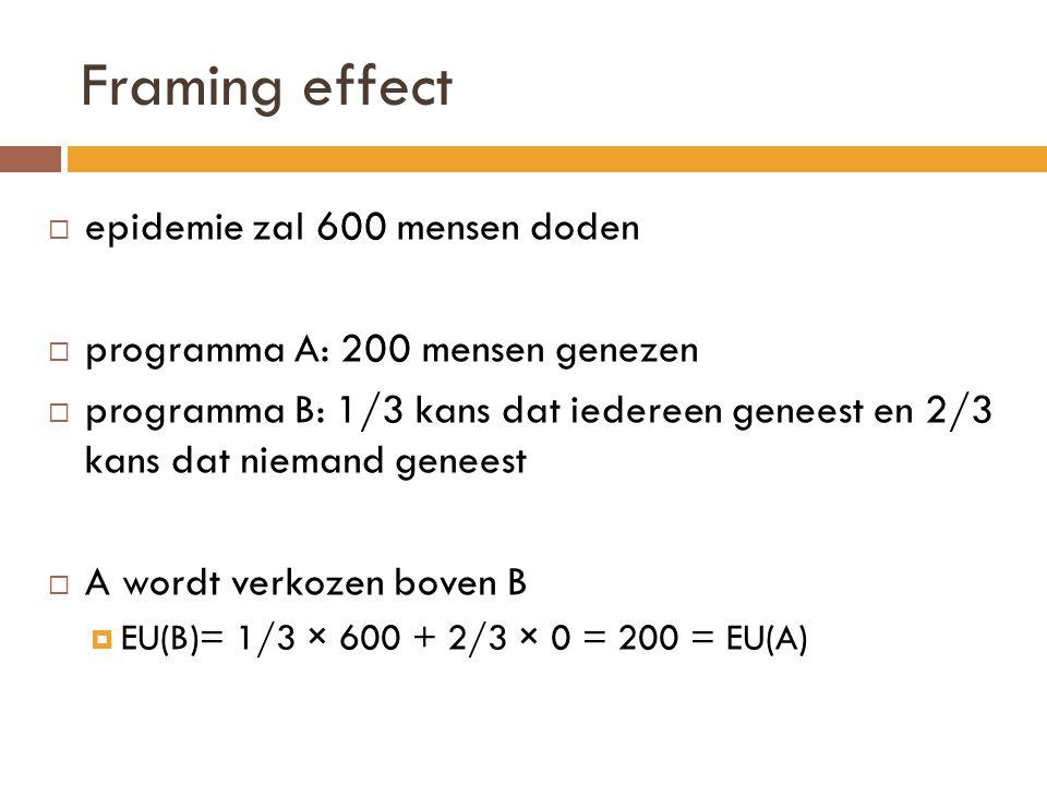 Framing effect  epidemie zal 600 mensen doden  programma A: 200 mensen genezen  programma B: 1/3 kans dat iedereen geneest en 2/3 kans dat niemand