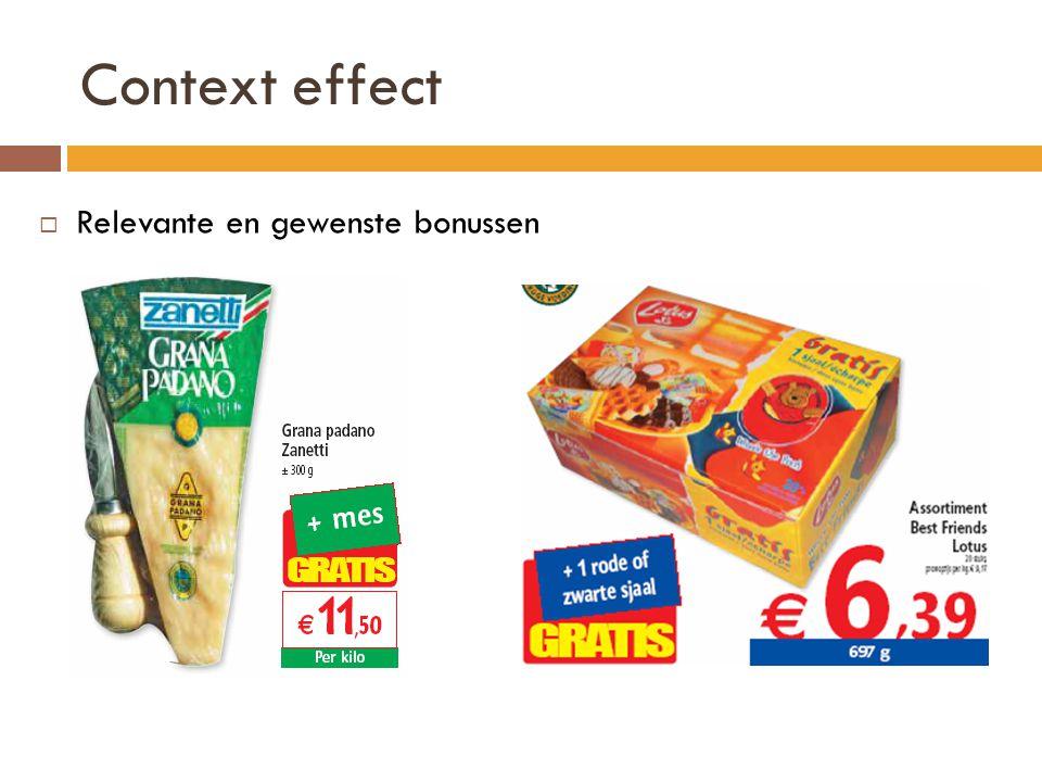 Context effect  Relevante en gewenste bonussen