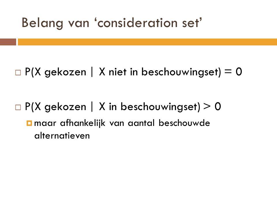 Belang van 'consideration set'  P(X gekozen   X niet in beschouwingset) = 0  P(X gekozen   X in beschouwingset) > 0  maar afhankelijk van aantal be