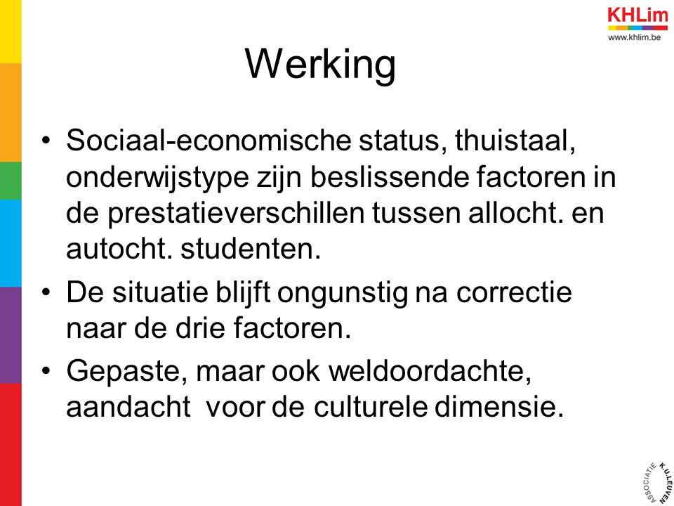 Werking Sociaal-economische status, thuistaal, onderwijstype zijn beslissende factoren in de prestatieverschillen tussen allocht. en autocht. studente