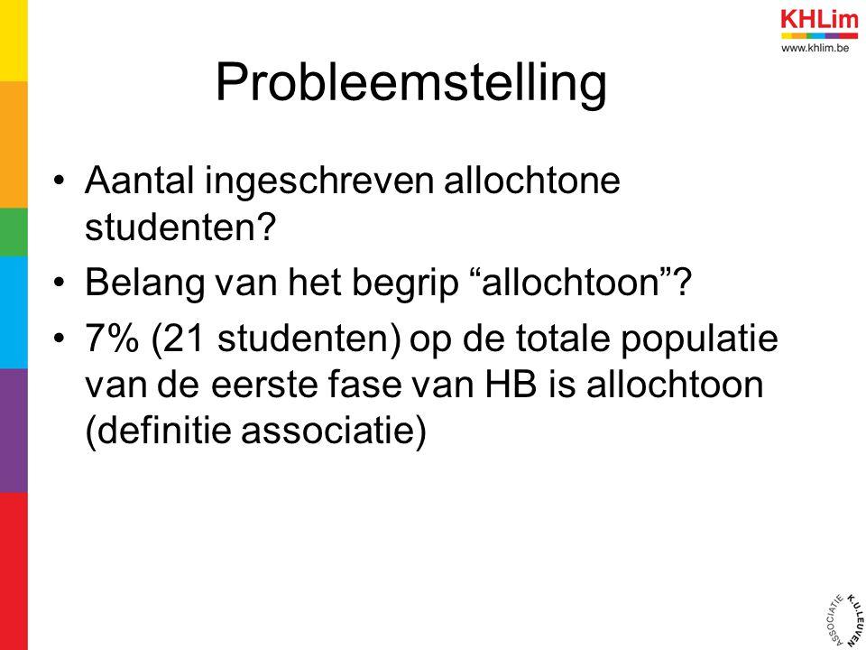 """Probleemstelling Aantal ingeschreven allochtone studenten? Belang van het begrip """"allochtoon""""? 7% (21 studenten) op de totale populatie van de eerste"""