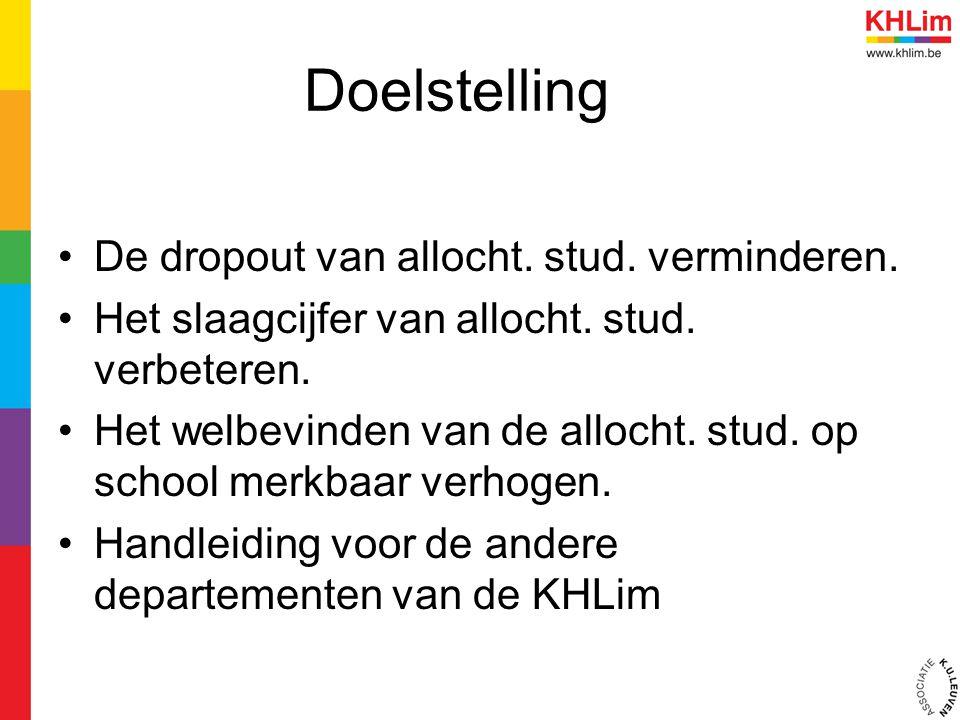Doelstelling De dropout van allocht. stud. verminderen.