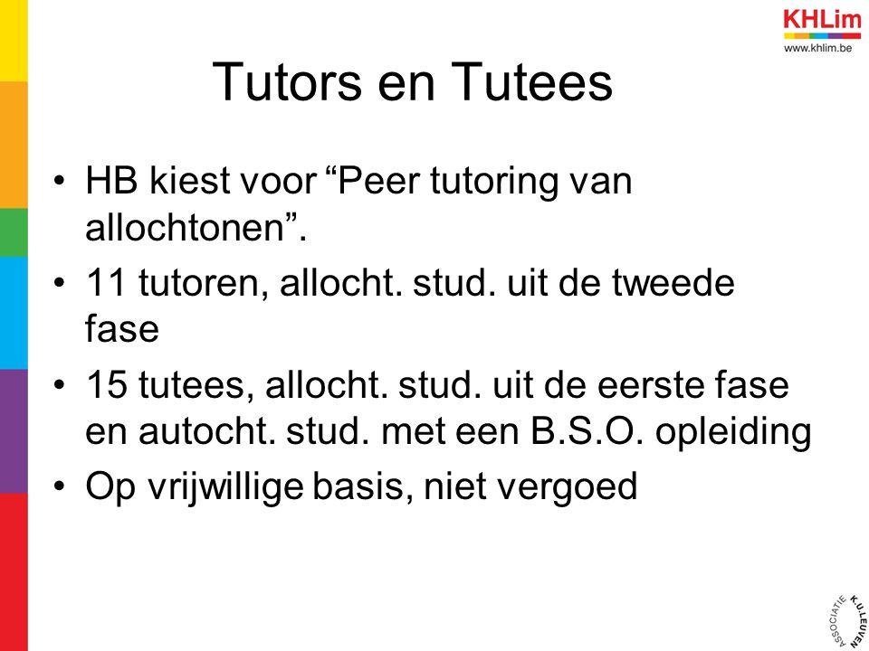 """Tutors en Tutees HB kiest voor """"Peer tutoring van allochtonen"""". 11 tutoren, allocht. stud. uit de tweede fase 15 tutees, allocht. stud. uit de eerste"""