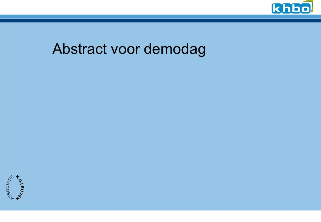 Abstract voor demodag