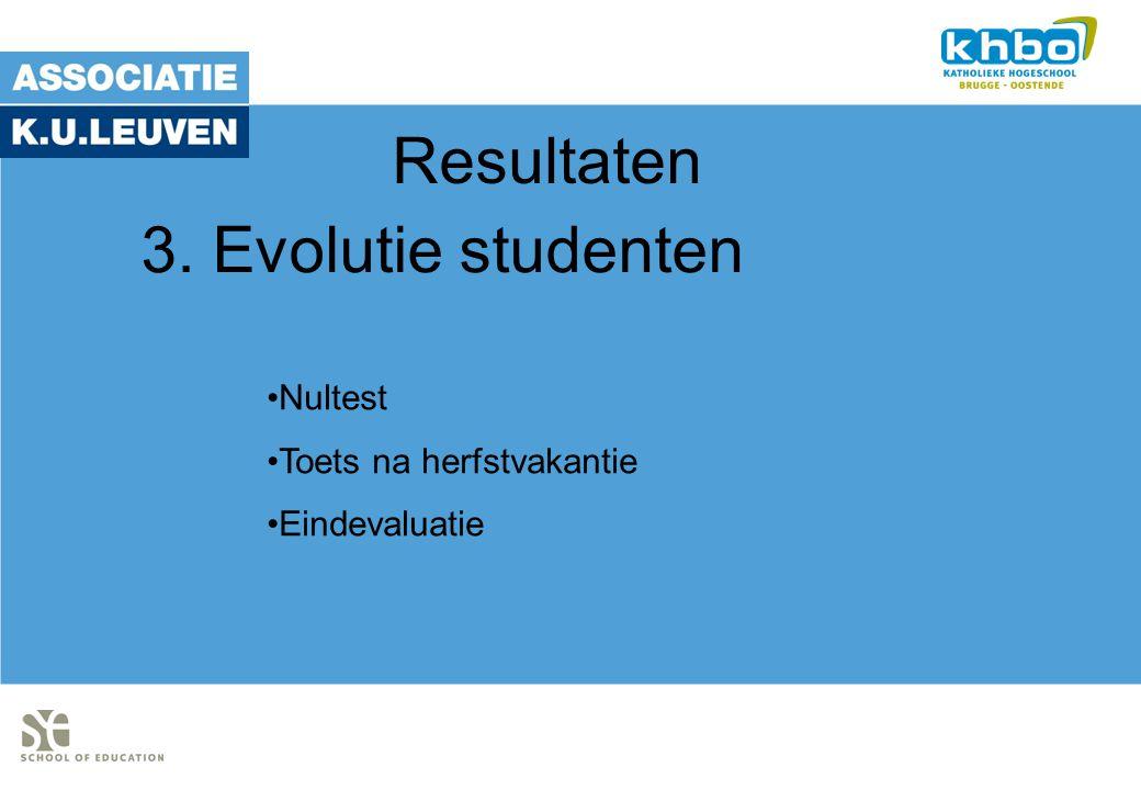 Resultaten Nultest Toets na herfstvakantie Eindevaluatie 3. Evolutie studenten
