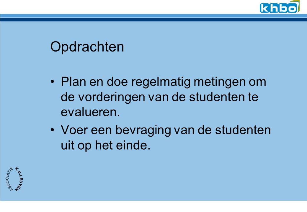 Opdrachten Plan en doe regelmatig metingen om de vorderingen van de studenten te evalueren.
