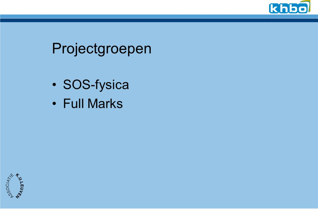 Projectgroepen SOS-fysica Full Marks