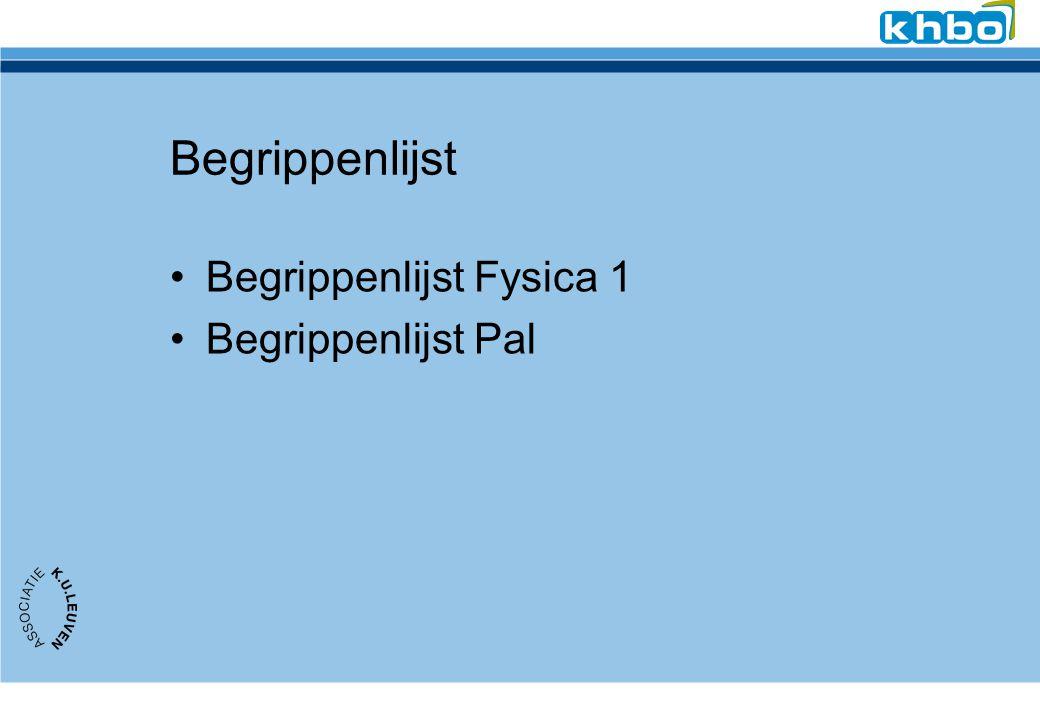 Begrippenlijst Begrippenlijst Fysica 1 Begrippenlijst Pal
