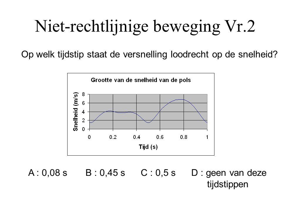 Niet-rechtlijnige beweging Vr.2 De tijdstippen waarop de snelheid en versnelling loodrecht op elkaar staan zijn deze waarbij de snelheid (tijdelijk) even groot blijft.