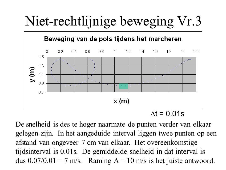 Niet-rechtlijnige beweging Vr.3  t = 0.01s De snelheid is des te hoger naarmate de punten verder van elkaar gelegen zijn. In het aangeduide interval