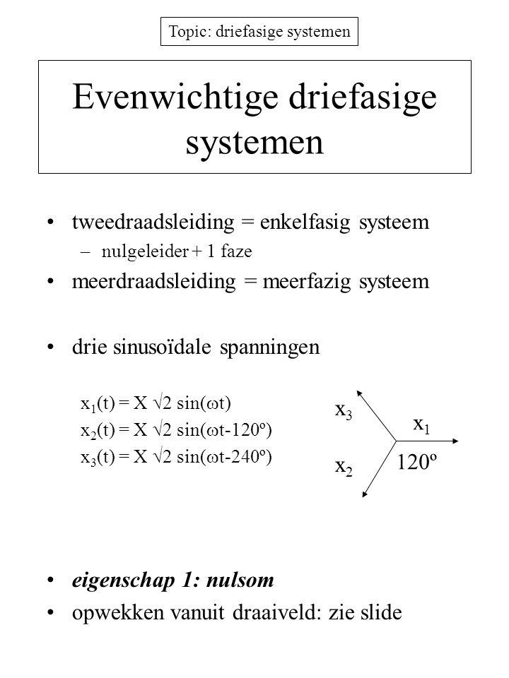 Topic: driefasige systemen Ster-ster driefasige energieverdeling eigenschap 2: 4x minder jouleverliezen dezelfde fasespanning hetzelfde actief vermogen dezelfde hoeveelheid koper –bewijs 2r (3 V f /Z) 2 = 4 (3 (3r/2) (V f /Z) 2 ) + - + - + - 1 n 2 3 faze- spanning sterpunt neutrale geleider sterpunt evenwichtige belasting lijnstroom I = 0 fasenlijnenfasen faze- stroom lijnspanning 3 draden ipv 2