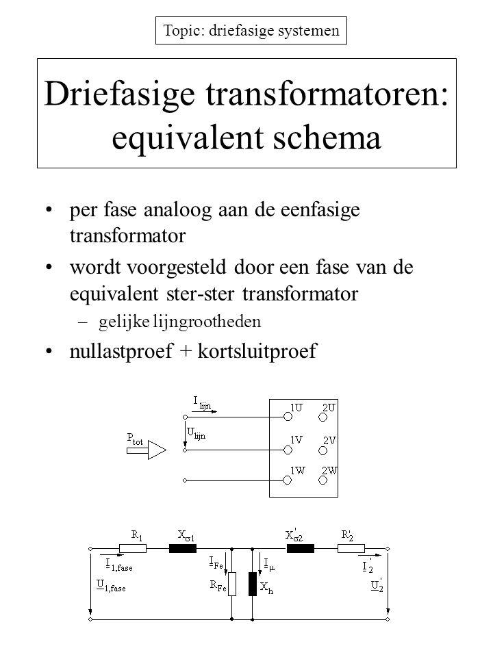 Topic: driefasige systemen Driefasige transformatoren: equivalent schema per fase analoog aan de eenfasige transformator wordt voorgesteld door een fa