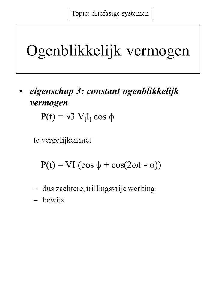 Topic: driefasige systemen Ogenblikkelijk vermogen eigenschap 3: constant ogenblikkelijk vermogen P(t) =  3 V l I l cos  te vergelijken met P(t) = V