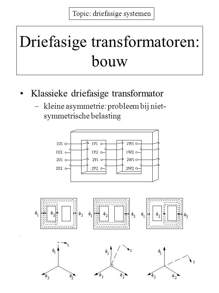 Topic: driefasige systemen Driefasige transformatoren: bouw Kern met 5 benen –kleinere jukhoogte, langere kernlengte –groter maximaal vermogen