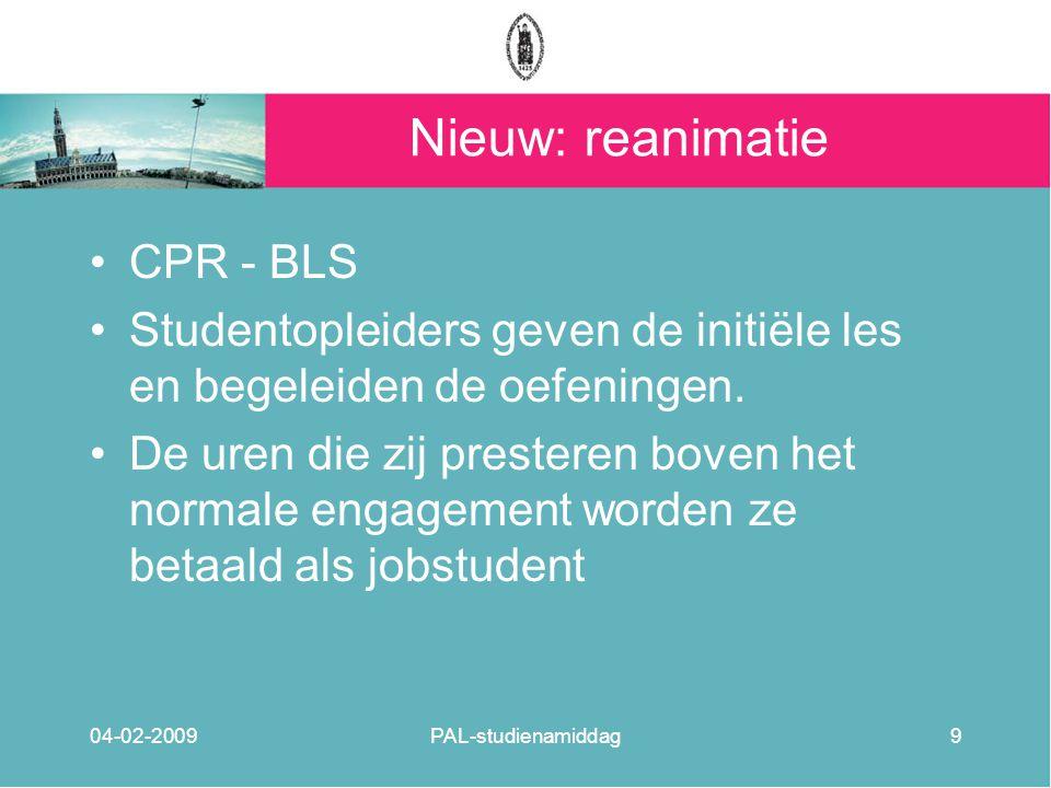 Nieuw: reanimatie CPR - BLS Studentopleiders geven de initiële les en begeleiden de oefeningen. De uren die zij presteren boven het normale engagement