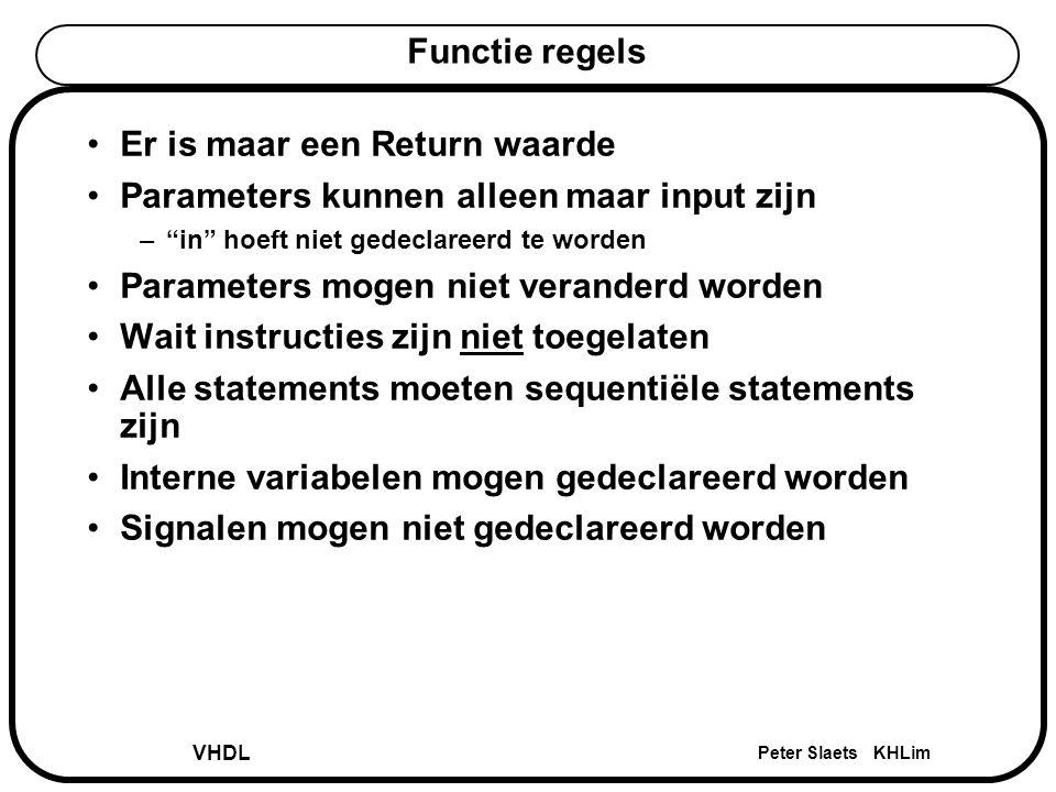 """VHDL Peter Slaets KHLim Functie regels Er is maar een Return waarde Parameters kunnen alleen maar input zijn –""""in"""" hoeft niet gedeclareerd te worden P"""