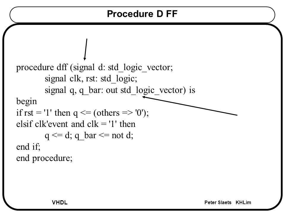 VHDL Peter Slaets KHLim Procedure D FF procedure dff (signal d: std_logic_vector; signal clk, rst: std_logic; signal q, q_bar: out std_logic_vector) is begin if rst = 1 then q 0 ); elsif clk event and clk = 1 then q <= d; q_bar <= not d; end if; end procedure;