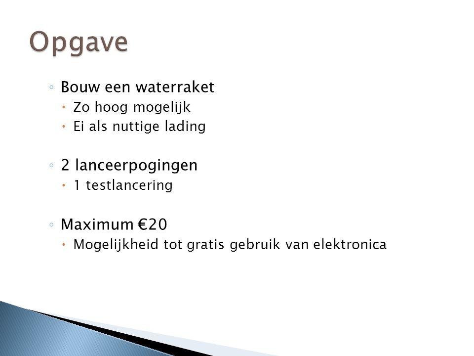 ◦ Bouw een waterraket  Zo hoog mogelijk  Ei als nuttige lading ◦ 2 lanceerpogingen  1 testlancering ◦ Maximum €20  Mogelijkheid tot gratis gebruik van elektronica