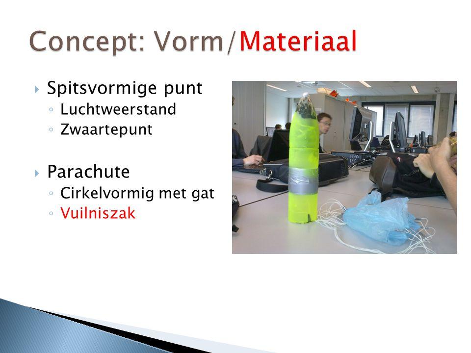  Spitsvormige punt ◦ Luchtweerstand ◦ Zwaartepunt  Parachute ◦ Cirkelvormig met gat ◦ Vuilniszak