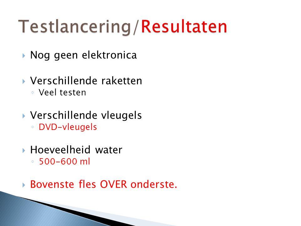  Nog geen elektronica  Verschillende raketten ◦ Veel testen  Verschillende vleugels ◦ DVD-vleugels  Hoeveelheid water ◦ 500-600 ml  Bovenste fles OVER onderste.