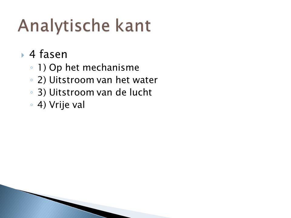  4 fasen ◦ 1) Op het mechanisme ◦ 2) Uitstroom van het water ◦ 3) Uitstroom van de lucht ◦ 4) Vrije val