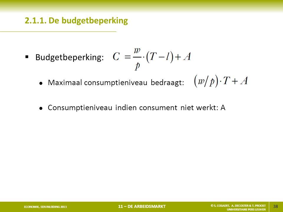 38 ECONOMIE, EEN INLEIDING 2013 11 – DE ARBEIDSMARKT © S. COSAERT, A. DECOSTER & T. PROOST UNIVERSITAIRE PERS LEUVEN 2.1.1. De budgetbeperking  Budge