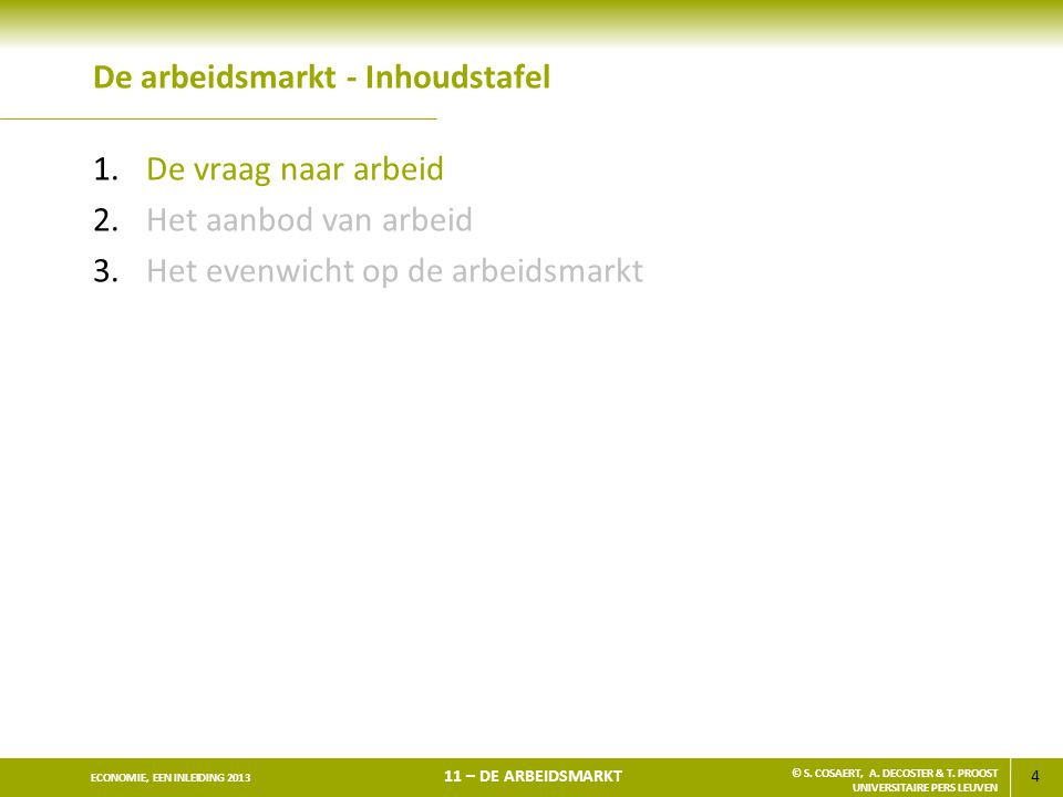 4 ECONOMIE, EEN INLEIDING 2013 11 – DE ARBEIDSMARKT © S. COSAERT, A. DECOSTER & T. PROOST UNIVERSITAIRE PERS LEUVEN De arbeidsmarkt - Inhoudstafel 1.D