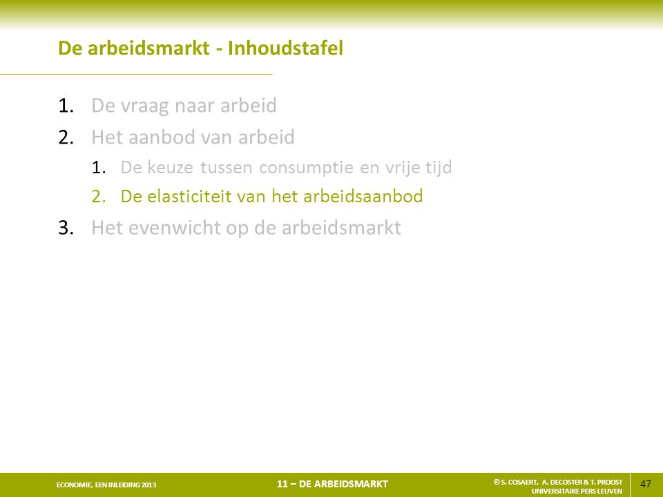 47 ECONOMIE, EEN INLEIDING 2013 11 – DE ARBEIDSMARKT © S. COSAERT, A. DECOSTER & T. PROOST UNIVERSITAIRE PERS LEUVEN De arbeidsmarkt - Inhoudstafel 1.
