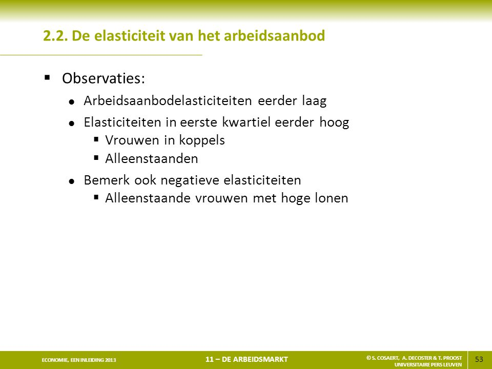 53 ECONOMIE, EEN INLEIDING 2013 11 – DE ARBEIDSMARKT © S. COSAERT, A. DECOSTER & T. PROOST UNIVERSITAIRE PERS LEUVEN 2.2. De elasticiteit van het arbe