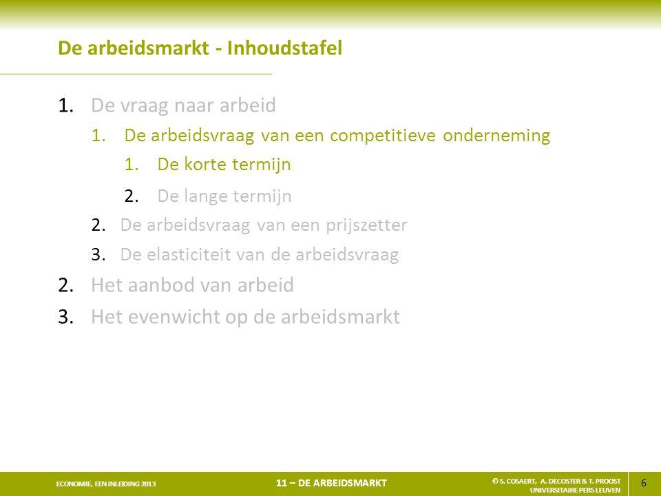 6 ECONOMIE, EEN INLEIDING 2013 11 – DE ARBEIDSMARKT © S. COSAERT, A. DECOSTER & T. PROOST UNIVERSITAIRE PERS LEUVEN De arbeidsmarkt - Inhoudstafel 1.D