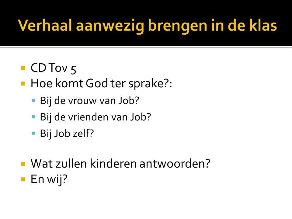 CD Tov 5  Hoe komt God ter sprake :  Bij de vrouw van Job.
