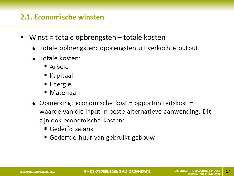 17 ECONOMIE, EEN INLEIDING 2013 6 – DE ONDERNEMING ALS ORGANISATIE © S. COSAERT, A. DECOSTER & T. PROOST UNIVERSITAIRE PERS LEUVEN 2.1. Economische wi