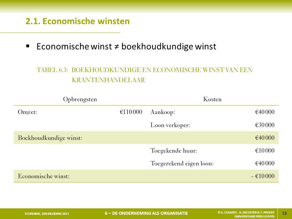 18 ECONOMIE, EEN INLEIDING 2013 6 – DE ONDERNEMING ALS ORGANISATIE © S. COSAERT, A. DECOSTER & T. PROOST UNIVERSITAIRE PERS LEUVEN 2.1. Economische wi