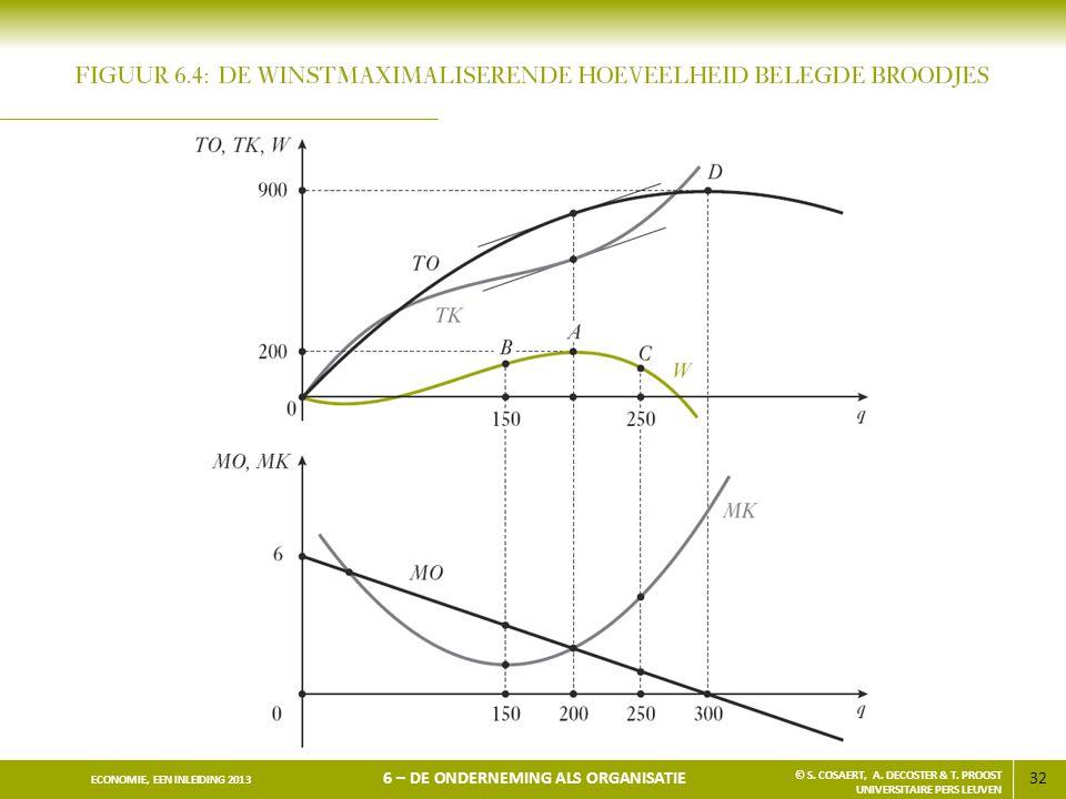 32 ECONOMIE, EEN INLEIDING 2013 6 – DE ONDERNEMING ALS ORGANISATIE © S. COSAERT, A. DECOSTER & T. PROOST UNIVERSITAIRE PERS LEUVEN
