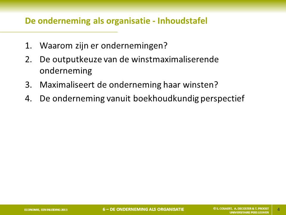15 ECONOMIE, EEN INLEIDING 2013 6 – DE ONDERNEMING ALS ORGANISATIE © S.