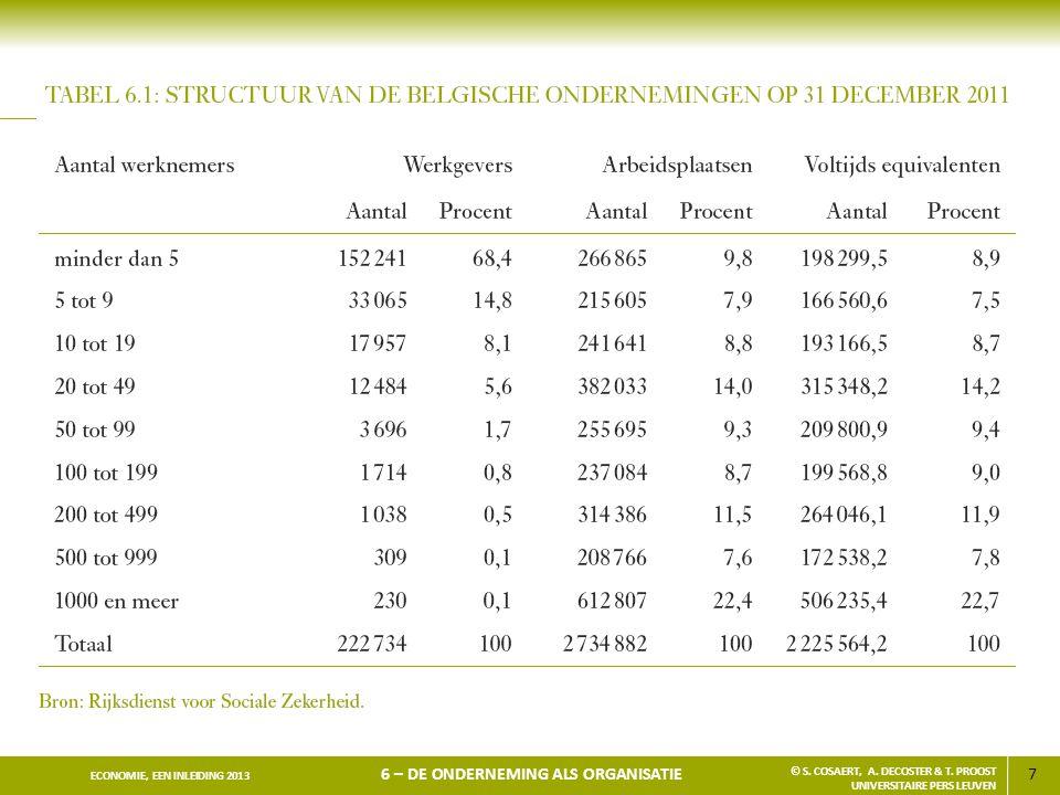 7 ECONOMIE, EEN INLEIDING 2013 6 – DE ONDERNEMING ALS ORGANISATIE © S. COSAERT, A. DECOSTER & T. PROOST UNIVERSITAIRE PERS LEUVEN