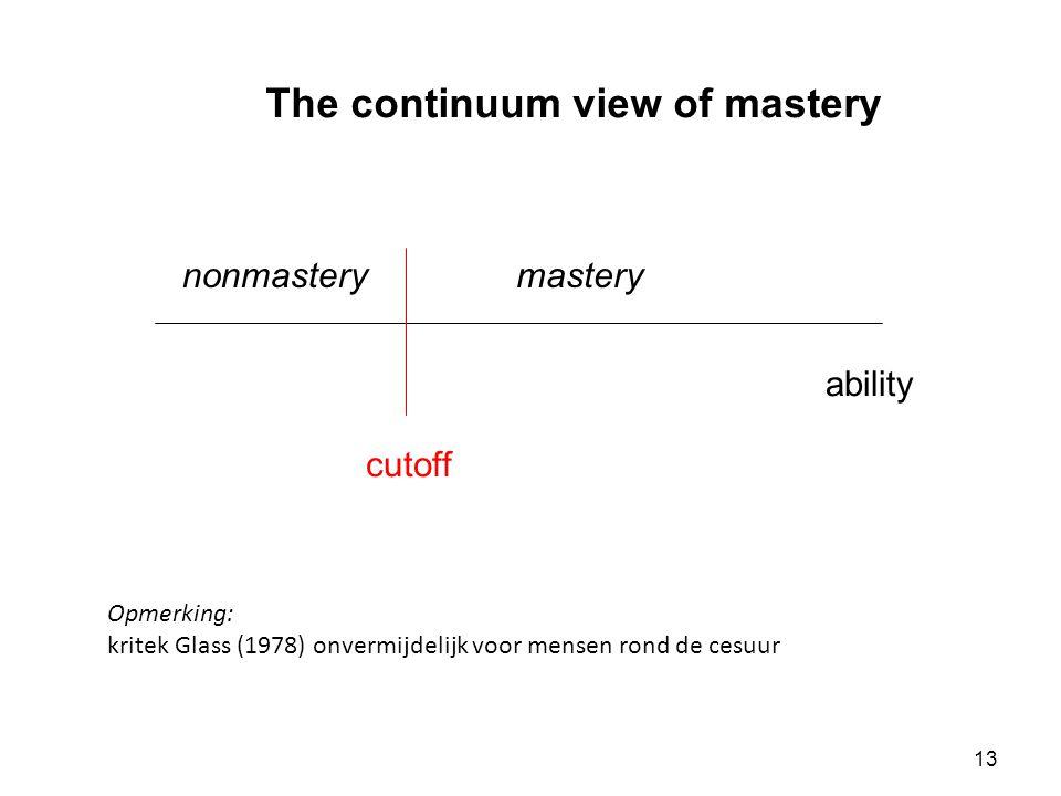 13 The continuum view of mastery ability masterynonmastery cutoff Opmerking: kritek Glass (1978) onvermijdelijk voor mensen rond de cesuur