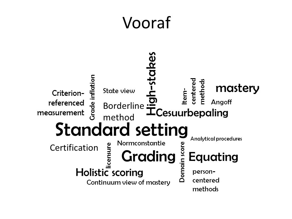 Vooraf Standard setting Grading Equating Holistic scoring Analytical procedures Normconstantie Grade inflation Cesuurbepaling Continuum view of master
