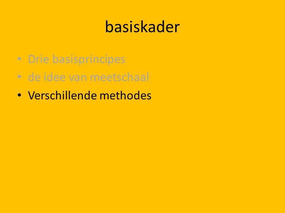basiskader Drie basisprincipes de idee van meetschaal Verschillende methodes