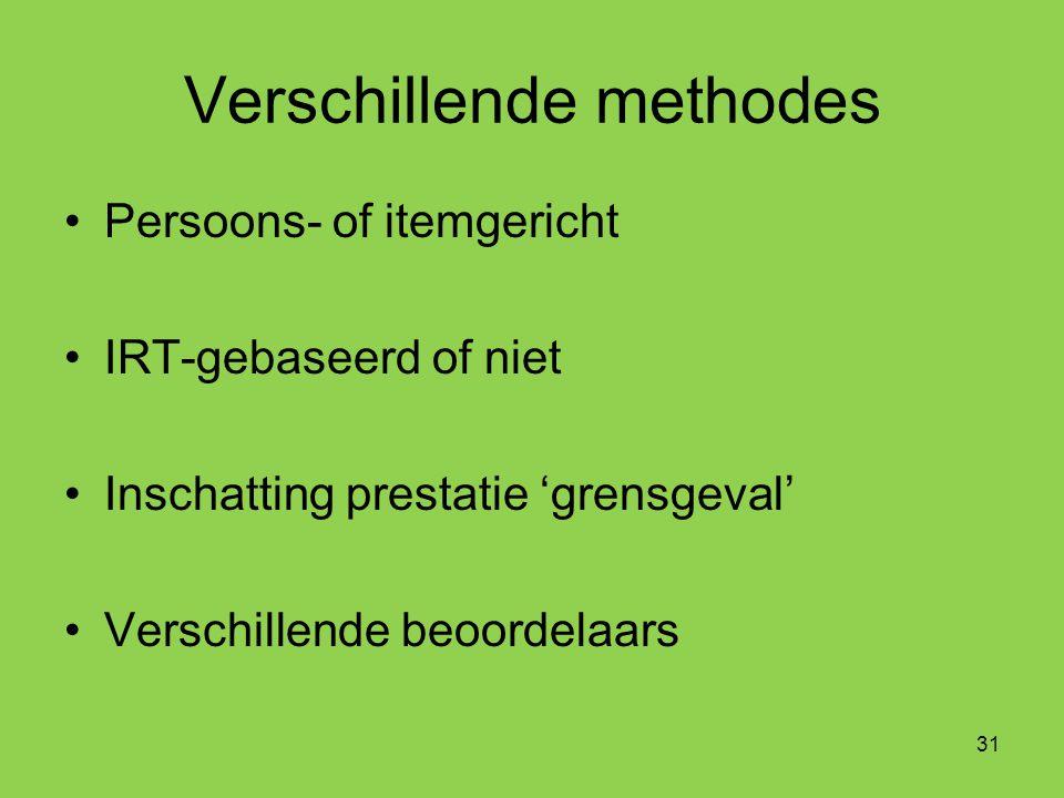 Verschillende methodes Persoons- of itemgericht IRT-gebaseerd of niet Inschatting prestatie 'grensgeval' Verschillende beoordelaars 31